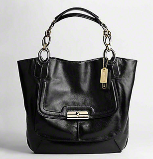 kristin elevated leather tote Black