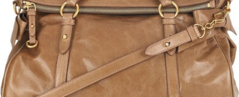 acca7328aa99 Oversized Bow Detailing Miu Miu Versatile Carmel Leather Tote With  Signature Charm
