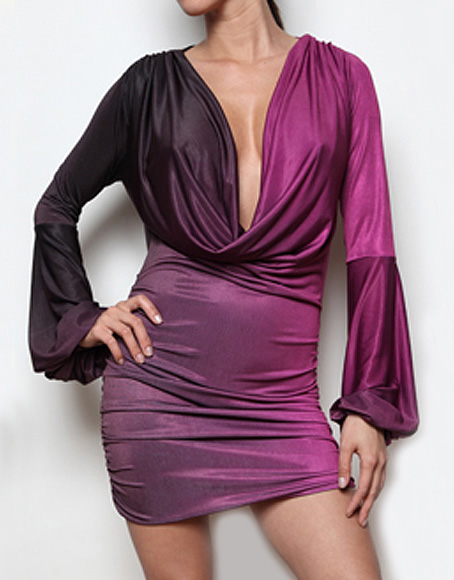 Savee Couture Drape Front Bell Sleeve Fuchsia Dress-100222