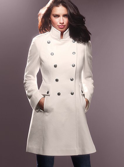 Wool Military lace Up Coat White